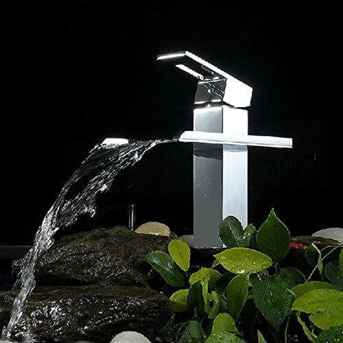 Baño grifo del lavabo del grifo de la cascada del fregadero grifo cromo total latón caliente y fría baño de grúa diseño único agua del grifo, cromo A, latón