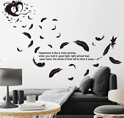 wwwff Schwarze farbe federn engel wandaufkleber zitate pvc material diy wandtattoos für wohnzimmer schlafzimmer dekoration 200 * 88