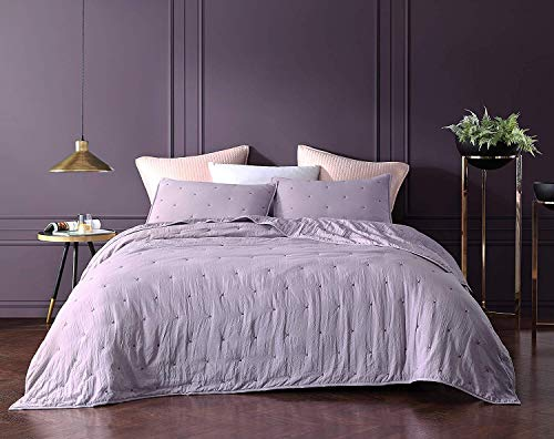 Bourina Reversible Quilt Coverlet Set Queen - Pre-Washed Microfiber Ultra Soft Lightweight Star Quilted Bedspread 3-Piece Quilt Set, Lavender