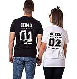 Pareja Camisetas King Shirts de Manga Corta T-Shirt 100% Algodón Impresión 01 2 Piezas Rey Reina Regalo de San Jorge Camisa Casual Para Mujer PHORYOU(Negro+Blanco,M+S)