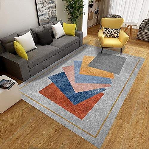 Waterproof Rug For Outdoors grey Carpet salon gray superimposed square pattern multi-size carpet anti-slip Children Rugs For Bedrooms 40X60CM Patio Rugs Waterproof 1ft 3.7''X1ft 11.6''