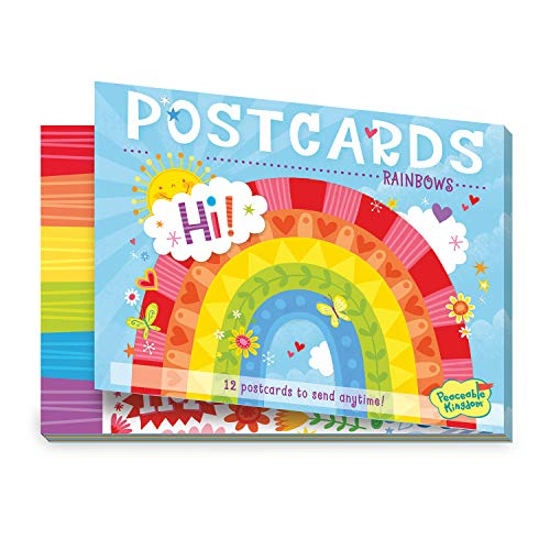 Peaceable Kingdom 12 Postcard Booklet for kids – Rainbow Theme - 3 each of 4 designs – Send love with rainbow, peace & love postcard styles for boys & girls – Great for summer camp
