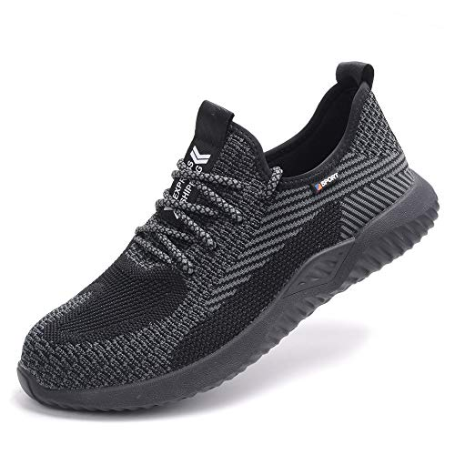 Aicherheitsschuhe Damen S3 Schwarz 35 Sicherheitsschuhe Arbeitsschuhe mit Stahlkappe Schutzschuhe Sommer Arbeit Schuhe Frauen Sneaker Turnschuhe Atmungsaktiv Sportlich Schuhe für Kinder Jungen