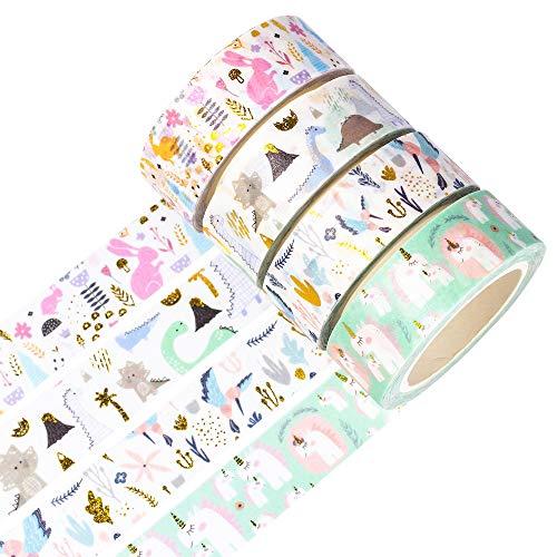YUBBAEX Oro Washi Tape Set cinta adhesiva decorativa Washi Glitter Adhesivo de Cinta Decorativa para DIY Crafts Scrapbooking 4 Rollos (Animales de hadas)