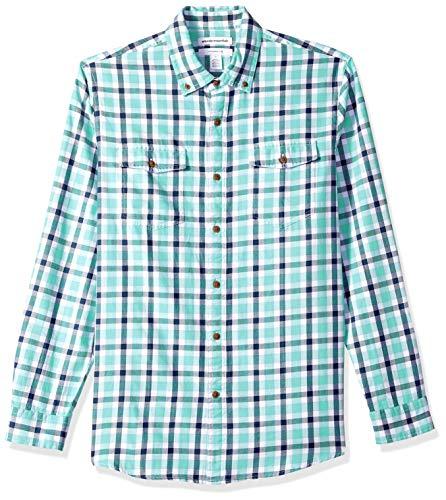 Amazon Essentials Men's Slim-Fit Long-Sleeve Two-Pocket Twill Shirt, Green/Navy Plaid, Large