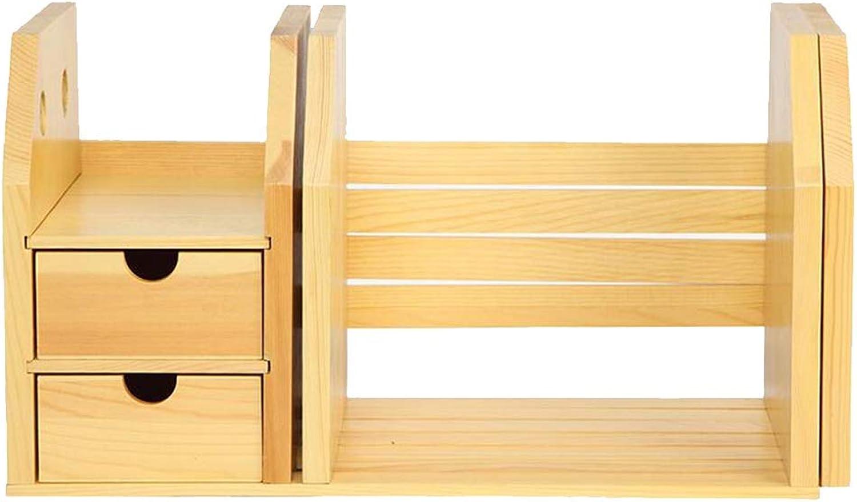 JCAFA Shelves Table Telescopic Shelves Learning Office Bookends Shelves Desktop Drawer Small Bookshelf Desk Storage Shelf,3 Style (color   Pine Wood, Size   18.70  8.54  10.11in)