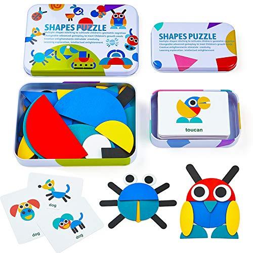 LIKEE - Bloques de madera para rompecabezas y juegos de clasificación y apilamiento de rompecabezas Montessori juguetes educativos para niños pequeños, niños y niñas de 3 años de edad (36 piezas de forma y 60 tarjetas de diseño en caja de hierro)