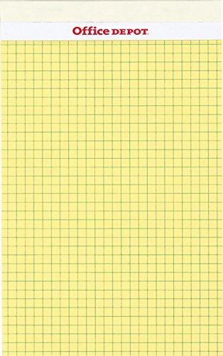 オフィス・デポオリジナル ジュニアサイズ リーガルパッド レポート用紙 方眼(5mm) イエロー 1パック(50枚×10冊)