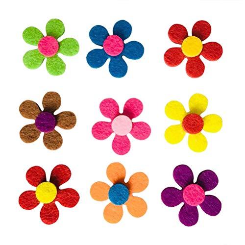 SUPVOX Filz Blumen Stoff Blumenschmuck Tisch Streun Dekoblumen für DIY Handwerk Nähen Hochzeitsdeko 100 Stück 2.8cm (Mischfarbe)