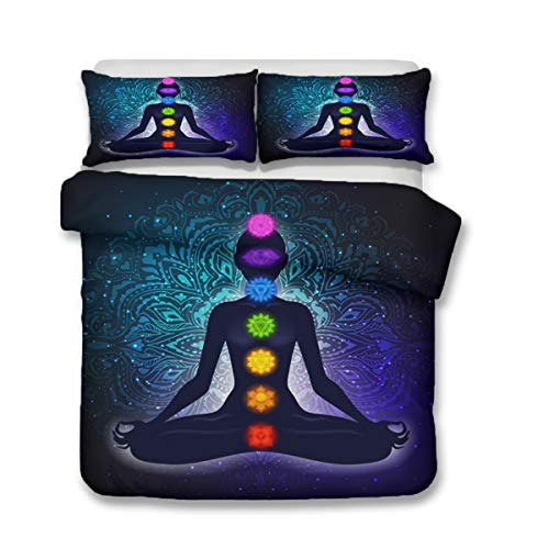 Bedding Set 3D Printed Duvet Cover Yoga Seven Chakras Buddha Sheets Home Textiles for Adults Bedclothes with Pillowcase Twin Queen Quilt Cover (Only Two 50x75cm Pillowcases)