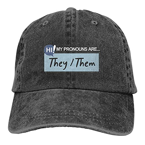 Gymini My Pronouns are They Them Hats - Gorras de béisbol lavables para adultos, ajustables para hombre y mujer, color negro