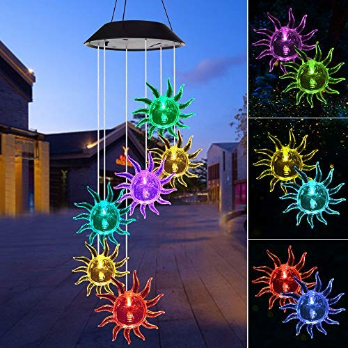 ShangTianFeng Wind Chime,Solar Lights Chimes Outdoor,Sun Flower Wind Chimes led/Solar Hummingbird Wind Chime Outdoor Yard Decorations Solar Light Mobile,(Gifts for mom,Birthday Gifts for mom)