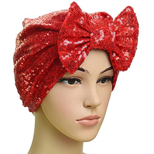 Anjetan Soft Headwear Home Casa Shiny Girls Donna Stretchy Party Turban Headwrap Sequin Bowknot Glitter Traspirante Chemo cap