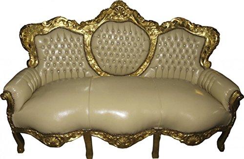 Barock Sofa Garnitur Creme/Gold Lederoptik Bling Bling - Möbel Antik Stil