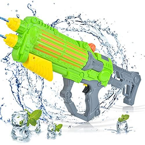EKKONG Pistola de agua, pistola de agua con doble potencia de pulverización, 1000 ml, gran capacidad y alcance de 10 metros, para fiestas de verano, piscina, jardín, regalo para niños, niñas (verde)
