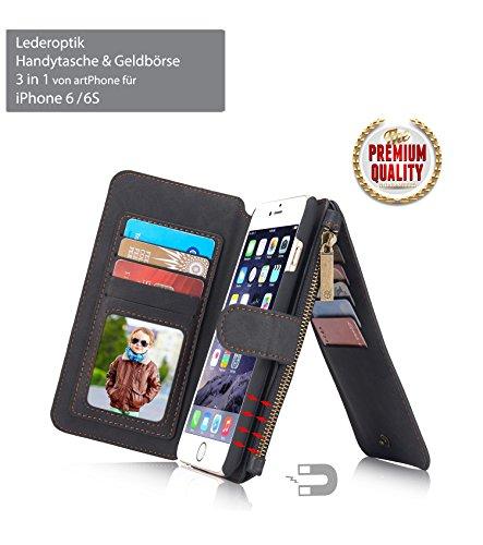 ArtPhone leder-look telefoonhoesje & portemonnee ***3-in-1 ***voor iPhone 6/6S/7/8/X/XS/XR/6 Plus/6S Plus/7 Plus/8 Plus