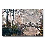 Bridge Over Lake Wall Art Canvas Painting...