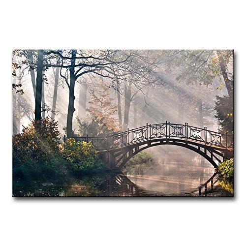 Bridge Over Lake Wall Art Canvas Painting Autumn Tree Forest Nature Landscape in Park Modern Picture Print On Canvas Artwork for Home Decoration