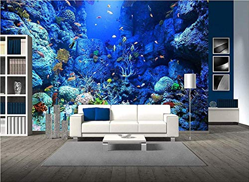 Murales Tropicales Mundo Submarino Azul Pared Papel 3D Papel Pintado Dormitorio Sala Tv Fondo Decoración De Pared Decorativos Murales 120Cmx100Cm