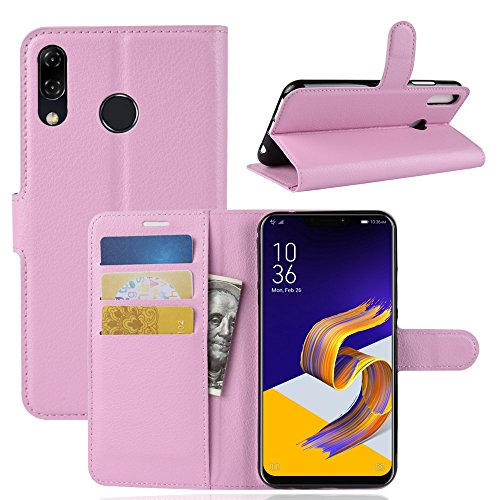 "Capa Capinha Carteira Case 360 Para Asus Zenfone 5 / 5z Ze620kl Zs620kl Tela De 6.2"" Couro Sintético Flip Wallet Para Cartão - Pronta Entrega (Rosa Claro)"
