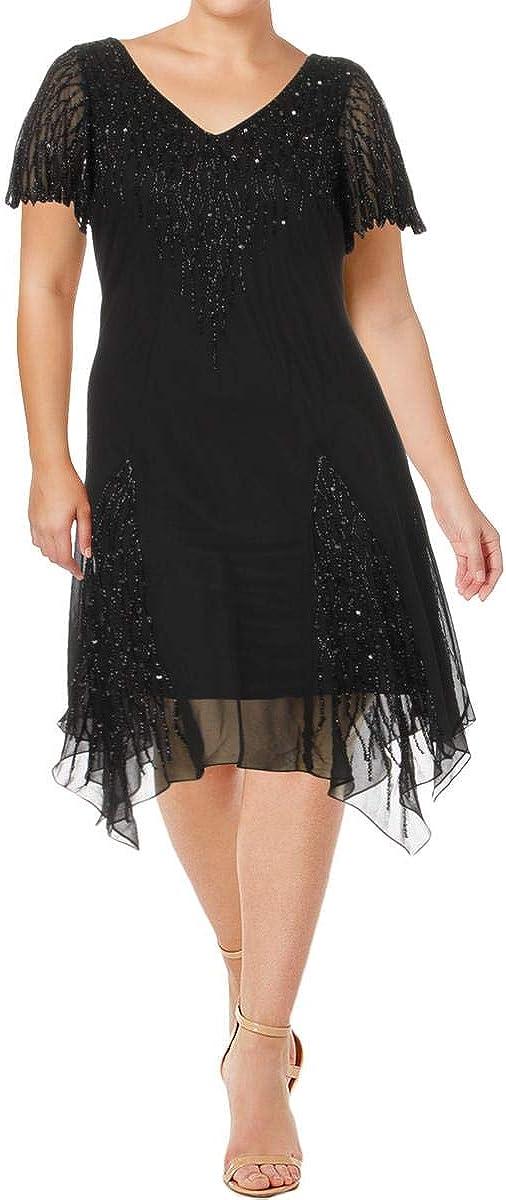 J Kara Women's Plus Size Short Beaded Dress