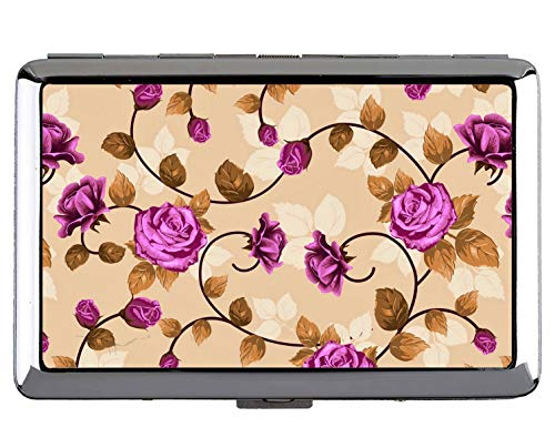 Caja de Cigarrillos Que Lleva en el Bolsillo, Titular de la Tarjeta del Acero Inoxidable de la Flor del Arte del Material de Las Hojas Color de Rosa