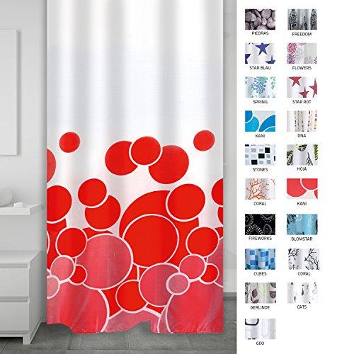 RIDDER 403076 Duschvorhang Textil ca. 180 x 200 cm, Kani rot