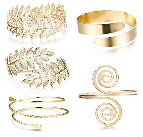 LOLIAS 5 Pcs Upper Arm Bracelet Cuff Jewelry Set for Women Girls Victorian Filigree Swirl Gypsy Bracelet Minimalist Coil Boho Gold Plated Bangle Bracelet Open Armlet Leaf Armband