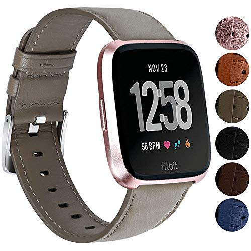 Replacement Bands Compatible for Fitbit Versa/Versa 2 / Versa Lite/Versa Special Edition, VOMA Genuine Leather Band Replacement Accessories Strap Women Men Gray