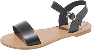Casual Flat Sandals for Women, Huazi2 Summer Cute Open Toes One Band Ankle Strap Flexible Shoes