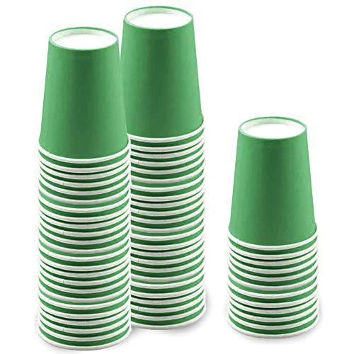 60 Piezas Vasos de Papel Verde Tazas de Fiesta Desechables Vasos Carton de Biodegradables y Compostables para Fiestas, Suministros de Cumpleaños, Bricolaje,Café - 250ml