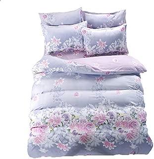 KFZBeddingSetDuvetCoverFlatSheetPillowcaseNoComforter4pcs/SetCQTwinFullQueenKingLoveFlowerRosemarySwayingDesignfor Kids (Love Sea Flower, Purple, Twin, 58