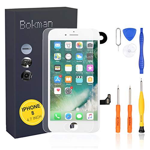 bokman Vormontiertes Display Reparaturset kompatibel mit Weiß iPhone 8, Inklusive FaceTime-Kamera, Mikrofon, Lautsprecher und Näherungssensor, Passendes Profi-Werkzeugset enthalten