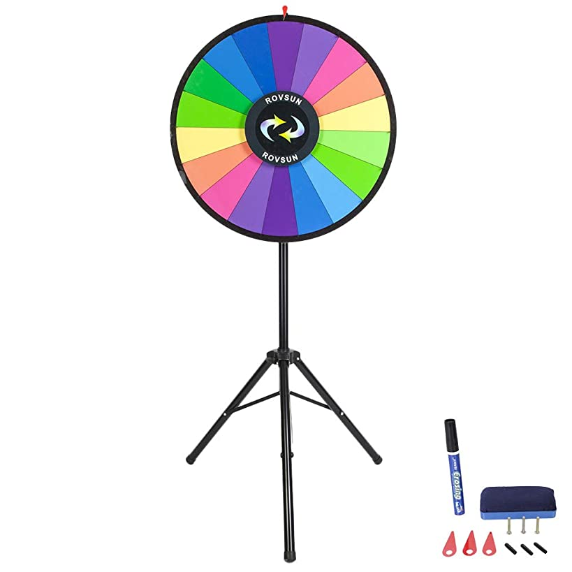 ROVSUN 30'' Spinning Prize Wheel w/Iron Folding Tripod Floor Stand,18 Color Slots Large Spinner Dry Erase Mark Pen Win Fortune Spin Game, for Trade Show Carnival Casino Party Market Classroom Raffle