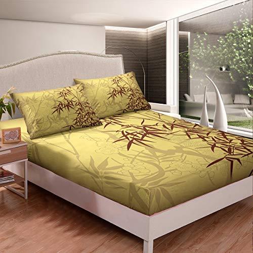 Loussiesd - Juego de cama con estampado de bambú para niñas y niños, diseño de árbol, diseño floral retro, decoración de cama doble tamaño 3 piezas