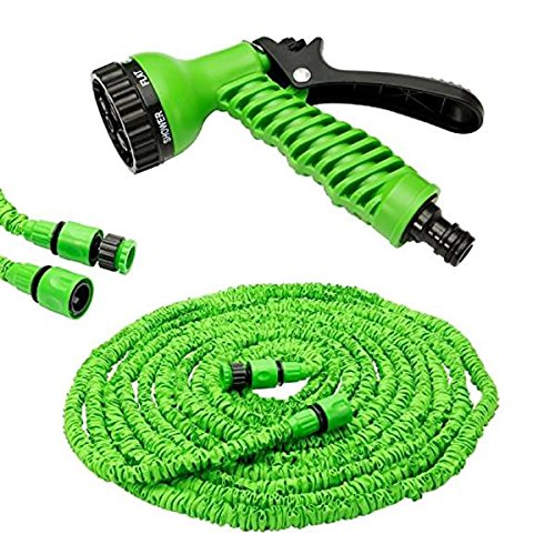 triecoworld jardín Manguera de agua extensible ampliar potente flexible Agua Manguera De Magia Tubería Jardín 100FT 7Speed Spray con libre Jet boquilla spray, verde