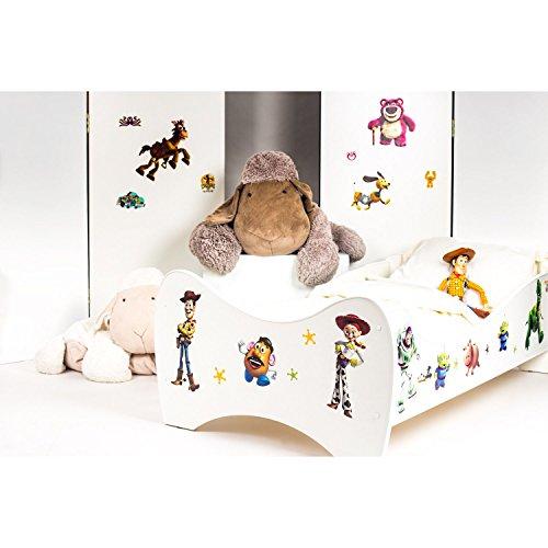 Bebegavroche Pack 8en1 Lit Junior Toy Story avec Matelas + Oreiller + Couette + Taie+ Housse de Couette +Drap Housse