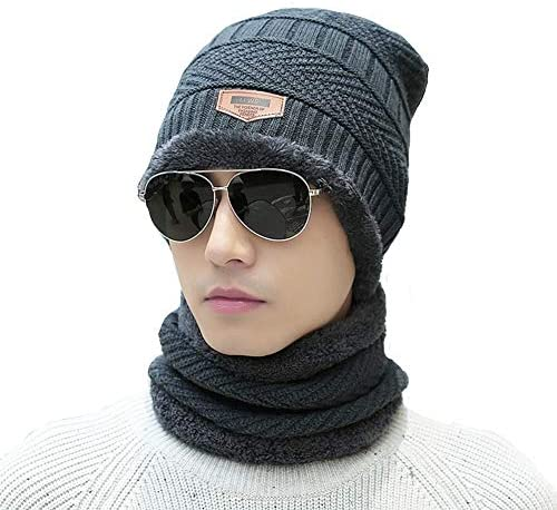 ADBUCKS Snow Proof Inside Fur Wool Unisex Beanie Cap with Neck Warmer Set Knit Hat Thick Fleece Lined Winter Hat for ...