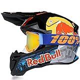 Cascos De Motocross,CertificacióN Dot/ECE Profesional Anti Niebla Protección UV Casco Protector de Color Motocross Clásico Mujer Hombre Guantes de Gafas Red Bull B,M