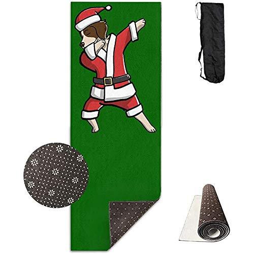 ZZ Power Fitness Mat,Betupfen des Hässlichen Weihnachtsyoga-Matten-Tuches des Bretagne-Spaniels Stilvolle Gedruckte Trainings-Fitness-Matten Für Hauptinnenyoga