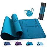 ANVASK Yogamatte Rutschfest Sportmatte für Training Pilates Gymnastik, TPE Schadstofffrei Gymnastikmatte Turnmatte mit Yogaline, Naturkautschuk Fitnessmatte 183*61*0.6cm (Bonus Springseil enthalten)
