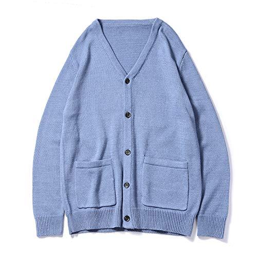 qishi Herren Strickcardigan Klassische Strickjacke V-Ausschnitt Knopf Sweater Einfarbig Sweater Top Gr. XL, blau