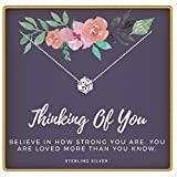KEDRIAN Thinking Of You Necklace, 925 Sterling Silver, Thinking Of You Gifts For Women,Sympathy Gift Pendant Necklaces, Cancer Gifts For Women, Chemotherapy Gifts, Encouragement Gifts For Women