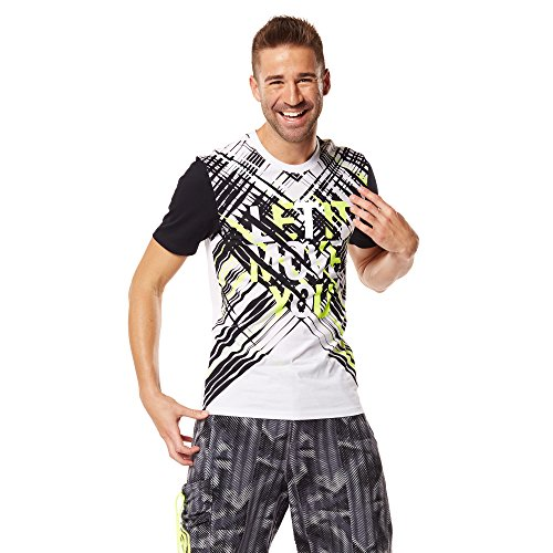 Zumba Fitness Dynamic Graphic tee Camiseta, Hombre, Blanco, XS