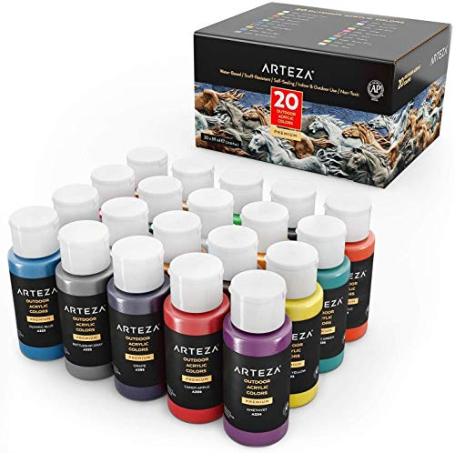 Arteza Outdoor Acrylic Paint, Set of 20 Colors/Tubes (59 ml/2 oz.) Rich Pigment Multi-Surface Paints, Art Supplies for Rock, Wood, Fabric, Leather, Paper, Crafts, Canvas and Wall Painting