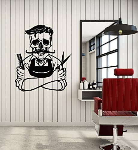 Vinyl Wall Decal Barber Barbershop Hair Stylist Hairdresser Skeleton Stickers Mural Large Decor product image