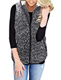 ZESICA Women's Sleeveless Zip Up Fuzzy Fleece...