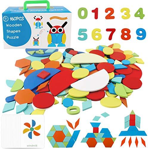 StillCool Tangram Madera, 160 Pzs Tangram Puzzle Montessori con 60 Tarjetas de Diseño Animales Plantas Coches Cohete, Juguetes Educativos para Niños Mayores de 2 Años