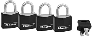 Master Lock 131Q Covered Aluminum Padlock with Key, Black, 4 Pack