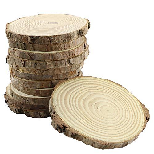 Bignc 12Pcs 4-5-Inch Unfinished Natural Thick Wood...